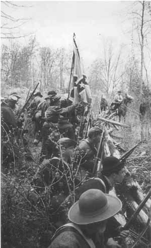 """Confederate troops at the Battle of Bull Run (called """"Manasas"""" by the Confederates)."""